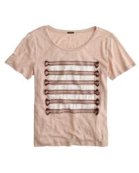 J.Crew | Natural Linen Embroidered Tassel Striped T-shirt | Lyst