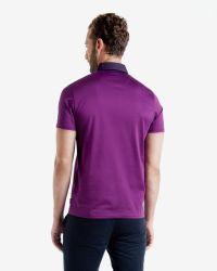 Ted Baker - Black Grosgrain Spot Collar Polo Shirt for Men - Lyst