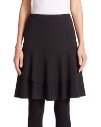 Akris Punto - Black Double-flounce Jersey Skirt - Lyst