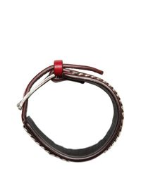 Emanuele Bicocchi | Red Nappa Leather & Chain Cuff Bracelet for Men | Lyst