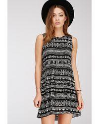 Forever 21 - Black Ikat Print Babydoll Dress - Lyst