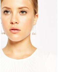 ASOS - Metallic Double Faux Pearl Through Earrings - Lyst