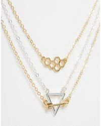 ASOS | Metallic Pack Of 3 Short Pendant Charm Necklaces | Lyst