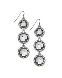 INC International Concepts | Metallic Silver-tone Blue Stone And Crystal Pavé Triple Drop Earrings | Lyst