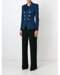 Balmain | Blue Double-Breasted Cotton-Piqué Jacket | Lyst