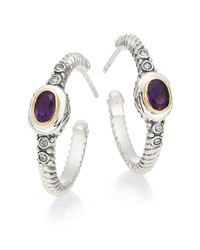 "Effy - Metallic Amethyst, Diamond, Stering Silver & 18k Yellow Gold Hoop Earrings/1"" - Lyst"