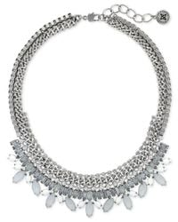 BCBGeneration | Metallic Rhodium-tone Multi-row Chain And White Stone Necklace | Lyst