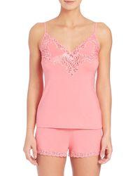 Natori - Pink Lace-detail Jersey Short Pajamas - Lyst