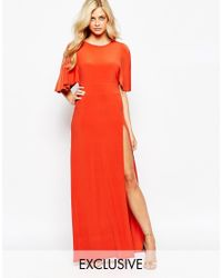 Love | Kimono Maxi Dress With Open Back And Thigh Split - Orange | Lyst