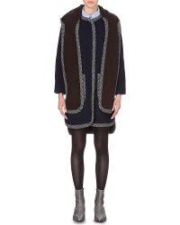 See By Chloé | Blue Contrast-trims Wool-blend Coat | Lyst