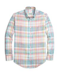 Brooks Brothers | Pink Madison Fit Plaid Linen Sport Shirt for Men | Lyst