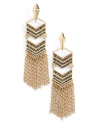 Rebecca Minkoff | Metallic Diamond Pave Fringe Earrings - Gold/clear | Lyst