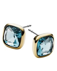 Michael Kors | Goldtone And Blue Stone Stud Earrings | Lyst