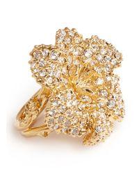 Alexander McQueen | Metallic Swarovski Crystal Flower Ring | Lyst
