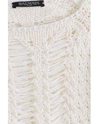 Balmain - White Cotton Sweater Dress - Lyst
