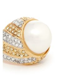 Kenneth Jay Lane | Metallic Pearl Center Rhinestone Pavé Ring | Lyst