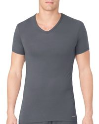 Calvin Klein | Gray V-neck Tee for Men | Lyst
