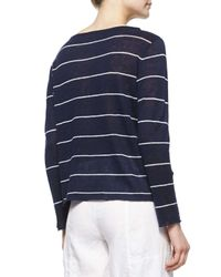 Eileen Fisher - Blue Pinstriped Knit Box Top - Lyst