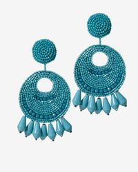 Kenneth Jay Lane | Blue Turquoise Bead Circle Earrings | Lyst