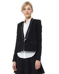 Rebecca Taylor - Black Twill & Leather Tux Blazer - Lyst