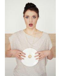 Tadam! Design - Metallic Doughnut White Sprinkles Necklace (gold Chain) - Lyst