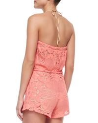 Miguelina - Pink Harriet Scalloped Lace Short Jumpsuit - Lyst