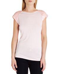 Ted Baker - Pink Embellished Shoulder Top - Lyst