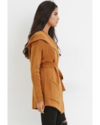 Forever 21 | Brown Belted Open-front Cardigan You've Been Added To The Waitlist | Lyst