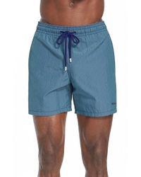 Vilebrequin - Blue 'morio' Gingham Check Swim Trunks for Men - Lyst