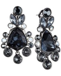Givenchy | Blue Light Hematite-tone Black Crystal Large Drama Drop Earrings | Lyst