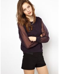 Cheap Monday | Black Sweatshirt with Organza Sleeves | Lyst
