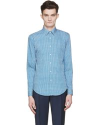 Burberry - Blue And White Patterned Shirt for Men - Lyst