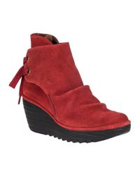 Fly London | Yama Wedge Boot Red Suede | Lyst