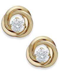 Macy's | Metallic Cubic Zirconia Love Knot Stud Earrings In 10k Gold | Lyst