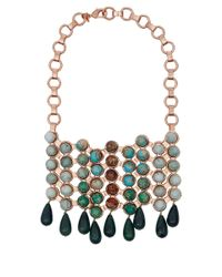 DANNIJO | Pink Medine Rose Golden Turquoise Bib Necklace | Lyst