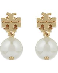 Tory Burch | Black Logo Pearl Drop Earrings - For Women | Lyst