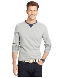 Izod | Gray Big And Tall Raglan Crew-neck Long-sleeve T-shirt for Men | Lyst