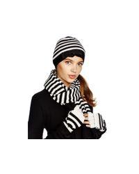 kate spade new york Black Merino Wool Striped Scarf