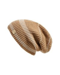 Vince Camuto | Brown Stripe Thermal Slouchy Beanie | Lyst