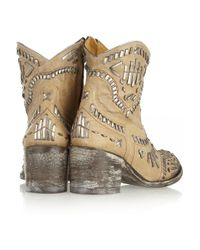 Mexicana - Brown Apache Embroidered Distressed Leather Ankle Boots - Lyst