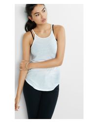 Express - White One Eleven Ribbed High Neck Tunic Tank - Lyst
