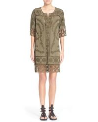 Sea - Green Broderie Anglaise Shirtdress - Lyst