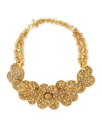 Jose & Maria Barrera - Metallic Gold-plated Flower Necklace With Crystals - Lyst