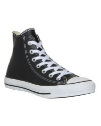 Converse - Black All Star Hi Leather Trainer - Lyst