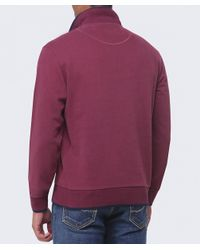 La Martina | Purple Contrast Collar Zip Sweater for Men | Lyst