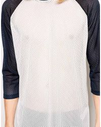 ASOS - White 34 Sleeve Tshirt in Mesh Fabric with Back Print for Men - Lyst