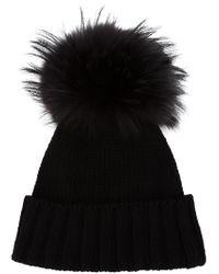Inverni | Black Cashmere Ribbed Pom Beanie Hat - Beige | Lyst