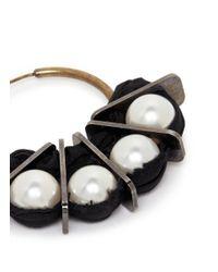 Lanvin | Multicolor Glass Pearl Taffeta Hoop Earrings | Lyst