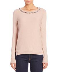 Rebecca Taylor - Pink Jewel-embellished Wool & Cashmere-blend Sweater - Lyst