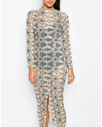 Missguided - Black Lace Midi Bodycon Dress - Lyst